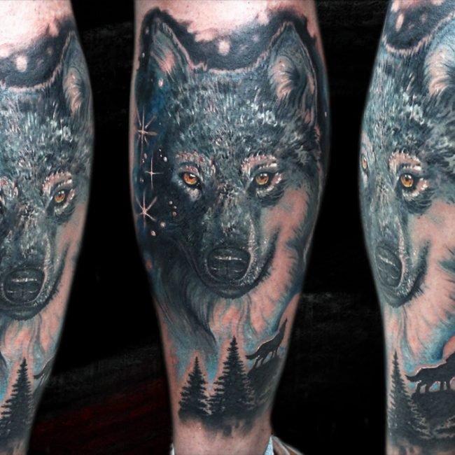 tatuaje lobo cover up