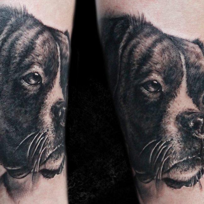 tatuaje retrato perro