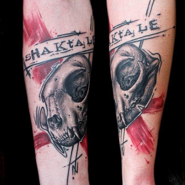 calavera gato tatuaje