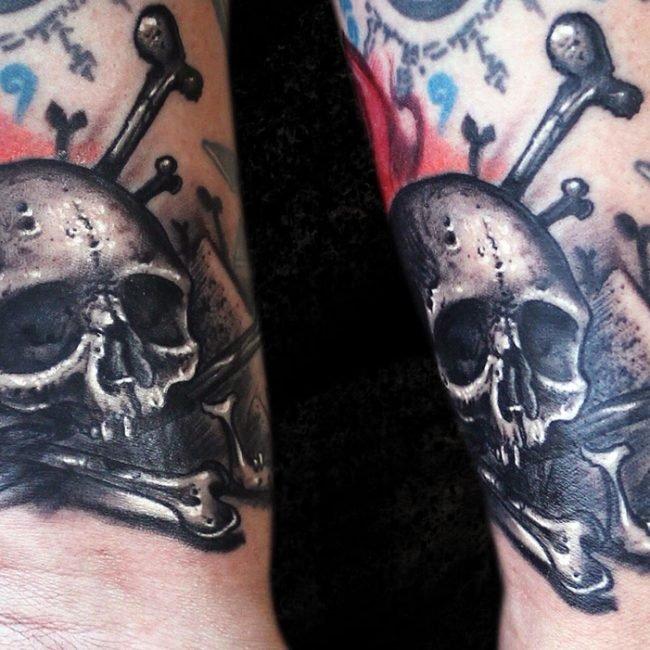 calavera tatuaje freehand