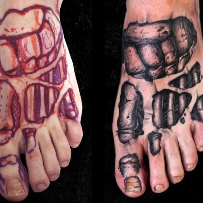 freehand tatuaje bones