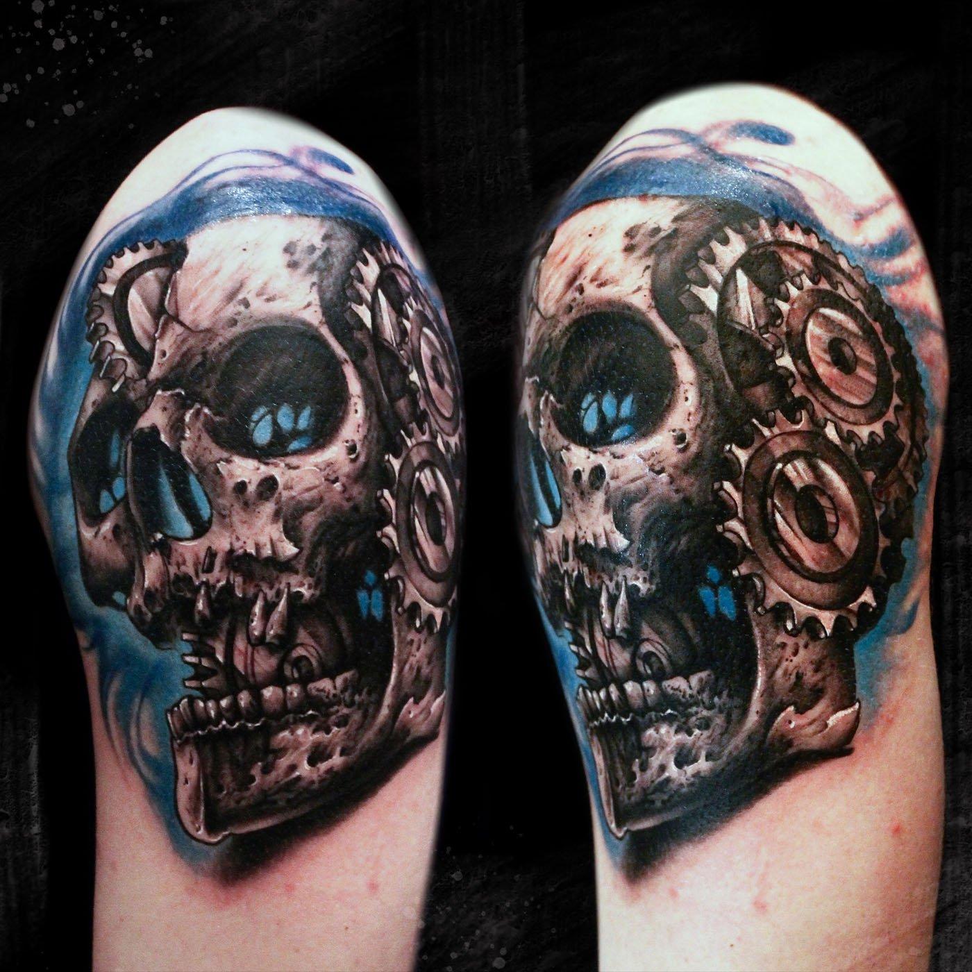 Calavera Con Engranajes Sick Nurse Tattoo By Rafa Garabal